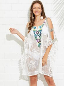 Cut Out Braided Sleeve Embroidery Lace Cover Up Top