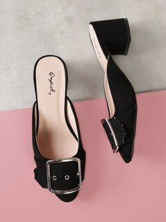 Faux Suede Buckled Low Block Mule Heel