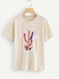3D Applique Cactus Print Tee