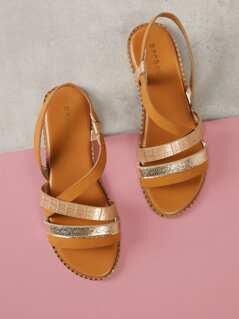 Asymmetrical Strappy Flat Sandal