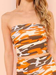 4be0d2150f2d Camo Print Tube Top and Mini Skirt | MakeMeChic.COM