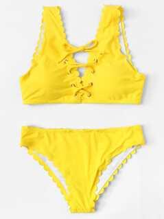 Eyelet Lace Up Scallop Bikini Set