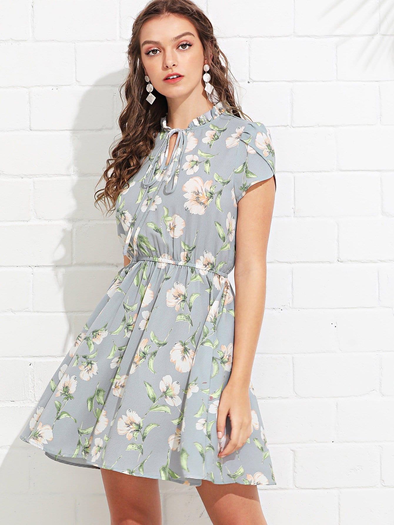 Tie Neck Elastic Waist Frilled Floral Dress tie neck elastic waist glitter dress