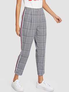 Contrast Striped Side Rolled Hem Plaid Pants