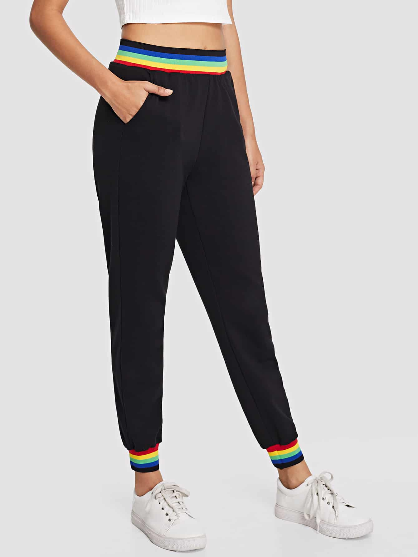 Contrast Striped Trim Sweatpants contrast striped side sweatpants