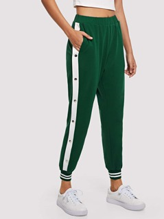 Contrast Snap Button Side Striped Hem Sweatpants