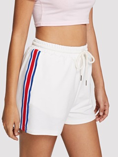 Contrast Tape Side Drawstring Waist Shorts