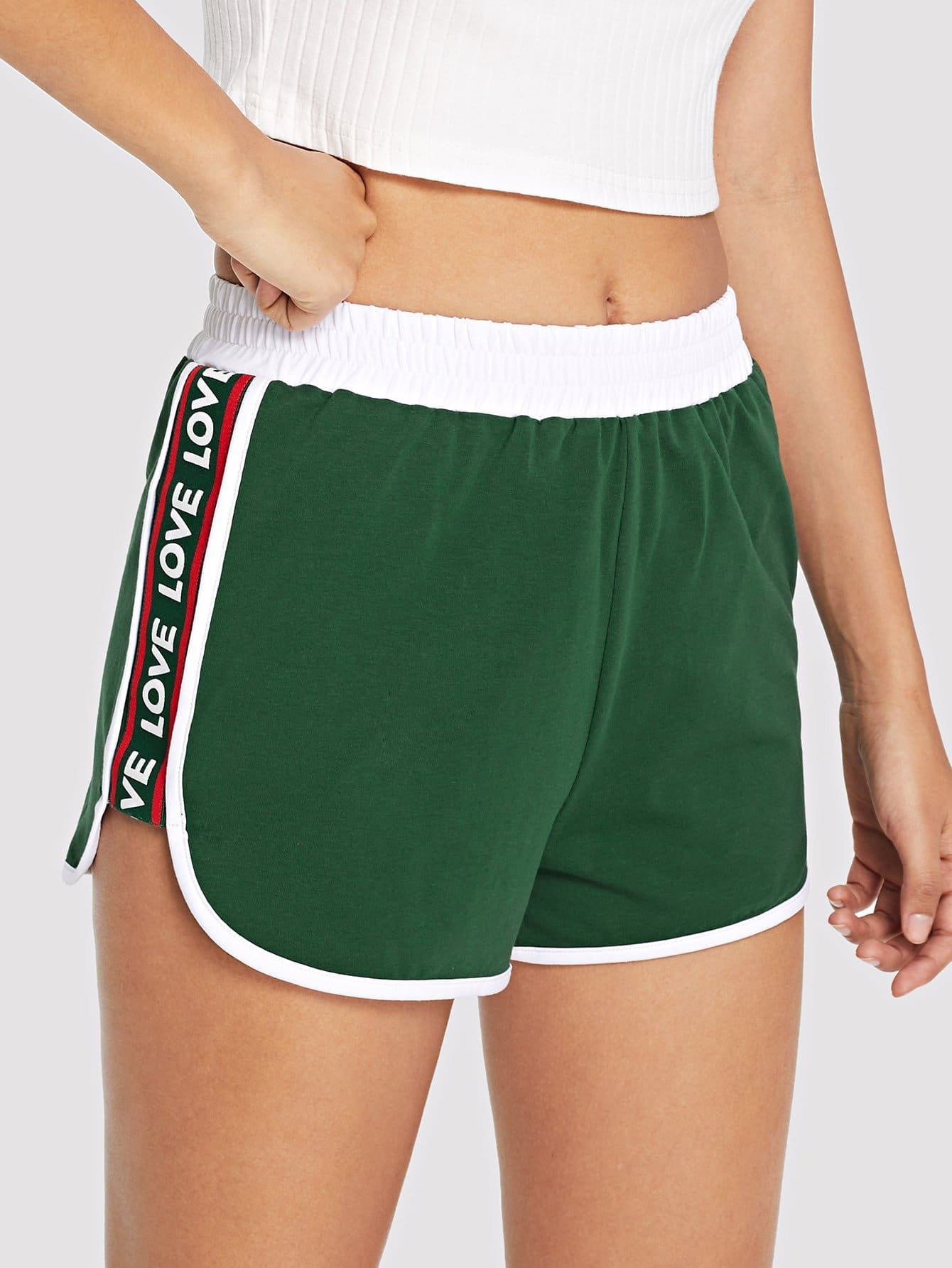 Lettering Tape Side Curved Hem Shorts lettering tape side skinny leggings