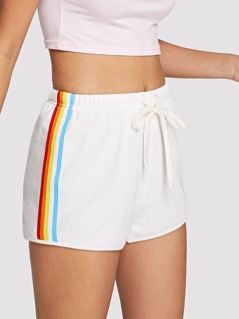 Striped Side Drawstring Waist Shorts