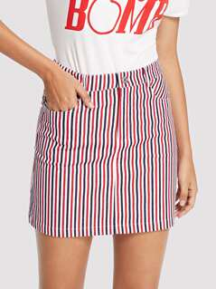 Slant Pocket Striped Skirt