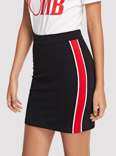 Color Block Zip Back Bodycon Skirt