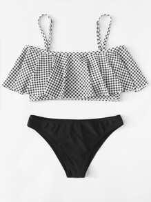 Flounce Cold Shoulder Plaid Bikini Set ROMWE