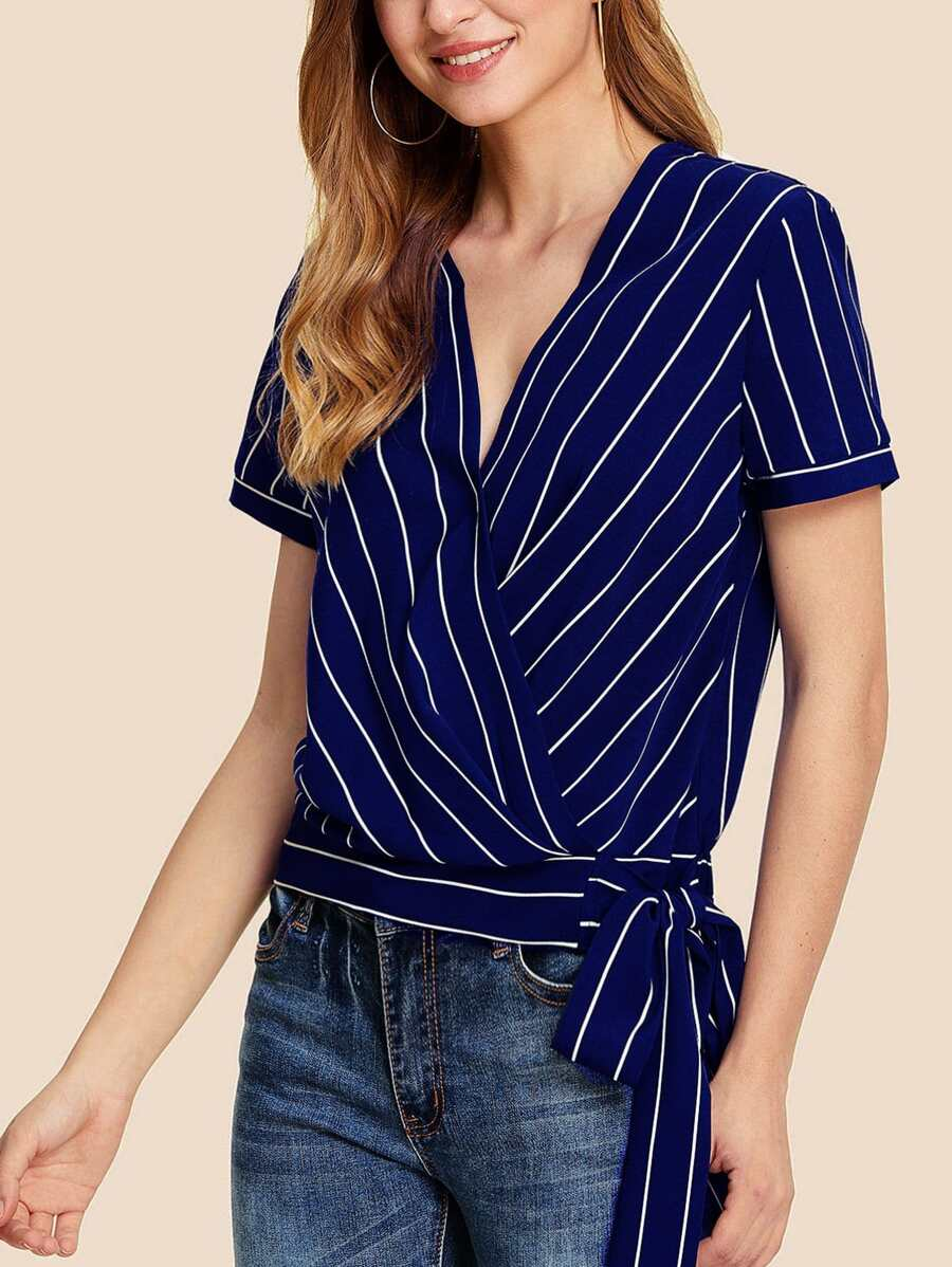 Striped Print Knot Hem Surplice Wrap Top by Shein