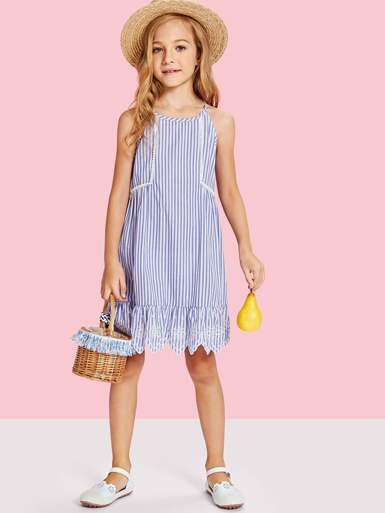 Lace Trim Embroidered Ruffle Hem Striped Dress ruffle waist zip back scallop hem embroidered gingham skirt
