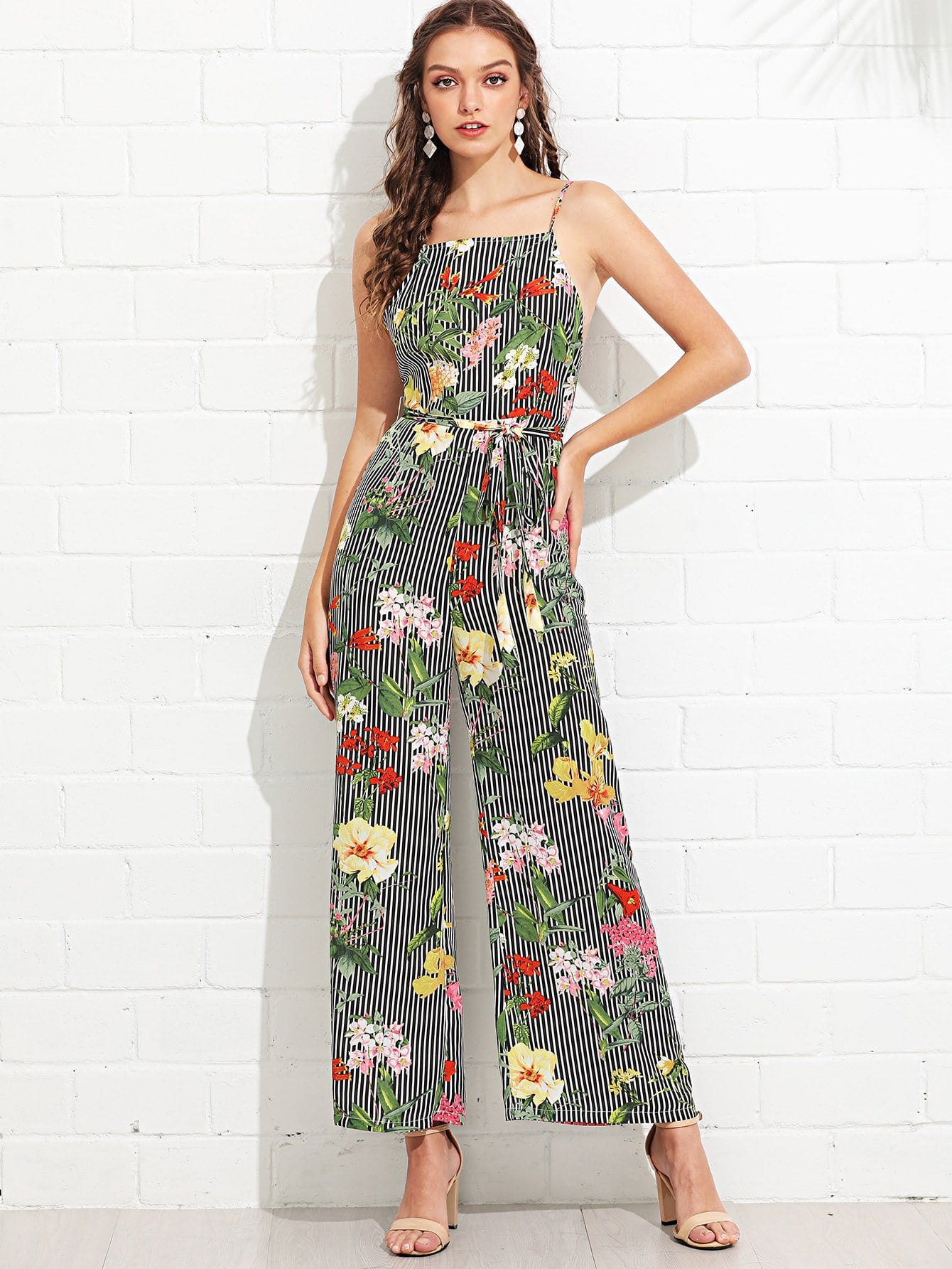 Striped & Floral Wide Leg Cami Jumpsuit shirred panel wide leg striped jumpsuit