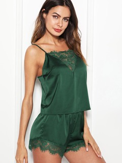 Lace Trim Satin Cami & Shorts Pajama Set