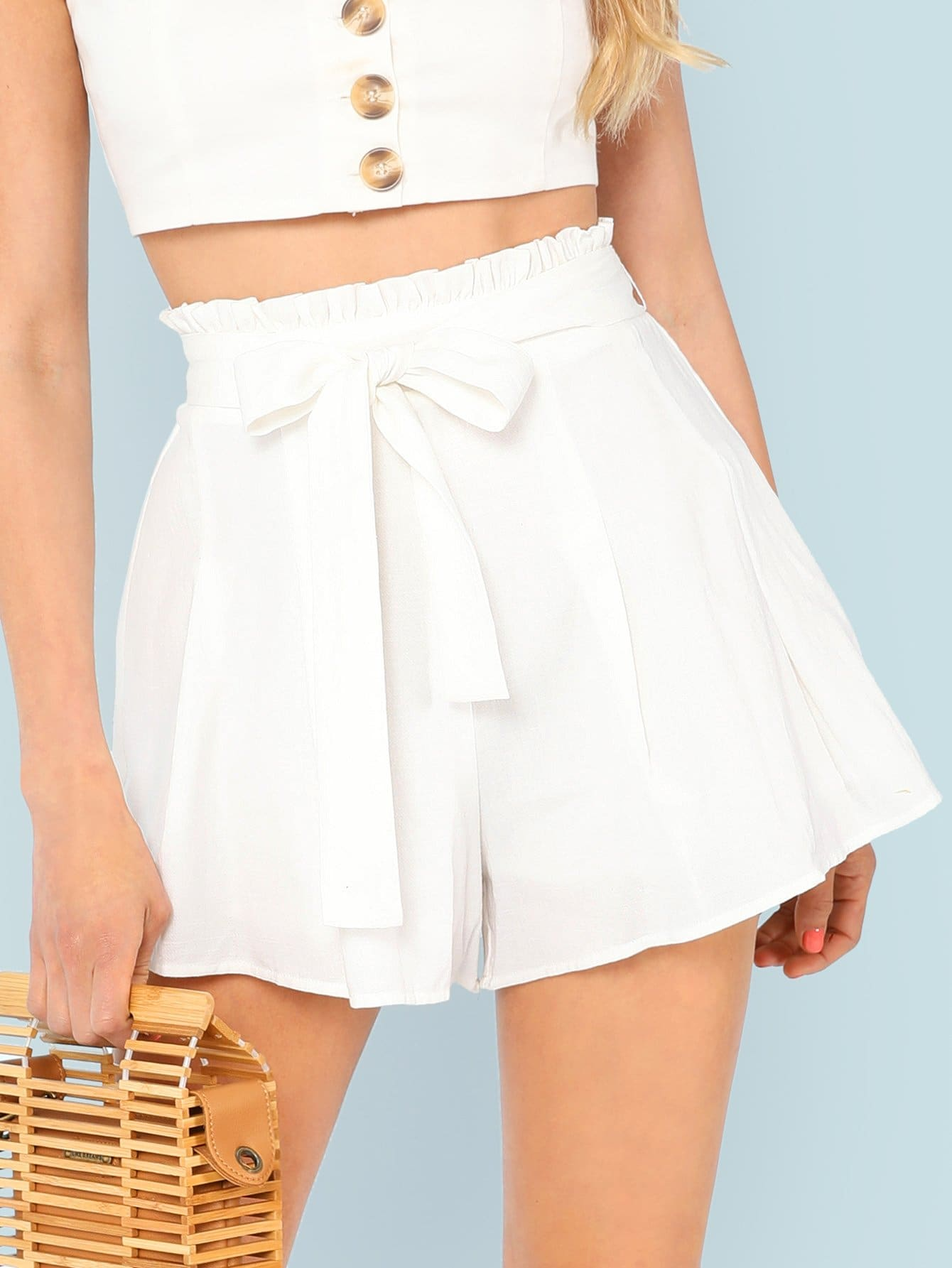 Frill Waist Boxed Pleated Shorts self belted boxed pleated shorts