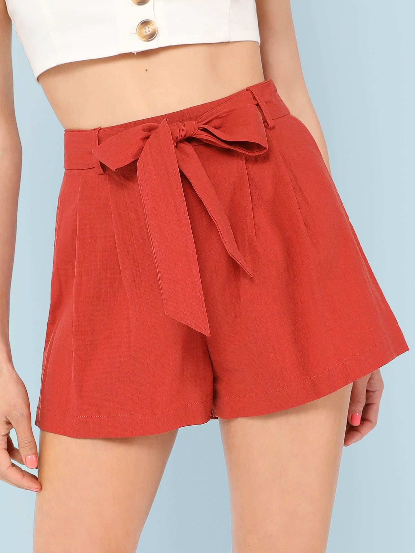 Self Belted Boxed Pleated Shorts self belted boxed pleated shorts