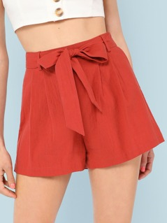 Self Belted Boxed Pleated Shorts