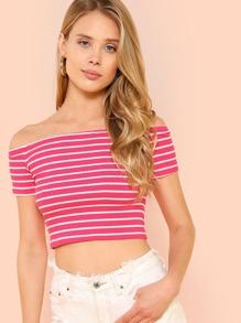 Rib Knit Striped Bardot Top SHEIN