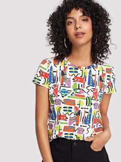 Abstract Print T-shirt