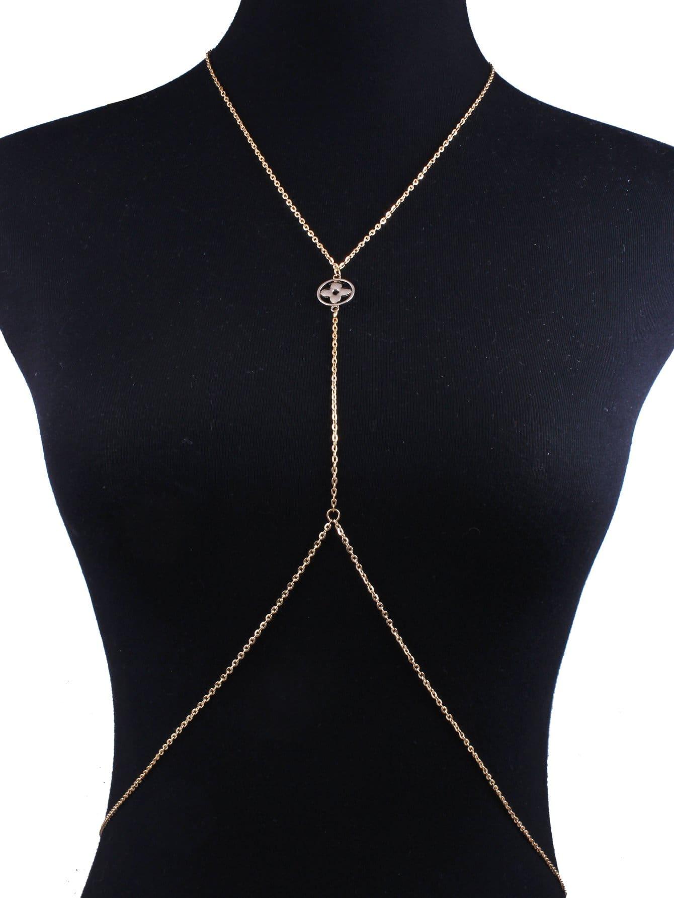 Купить Полые круглые украшенные тела цепи, null, SheIn
