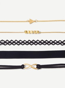Infinity & Triangle Detail Bracelet Set 5pcs