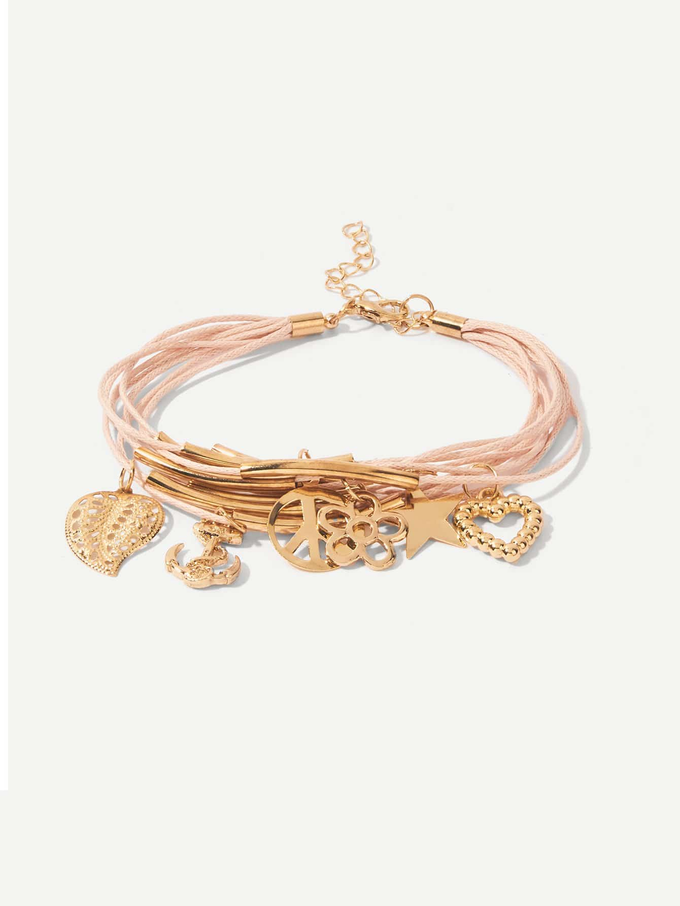 Anchor & Flower Detail Layered Bracelet trendy anchor cross layered bracelet for women