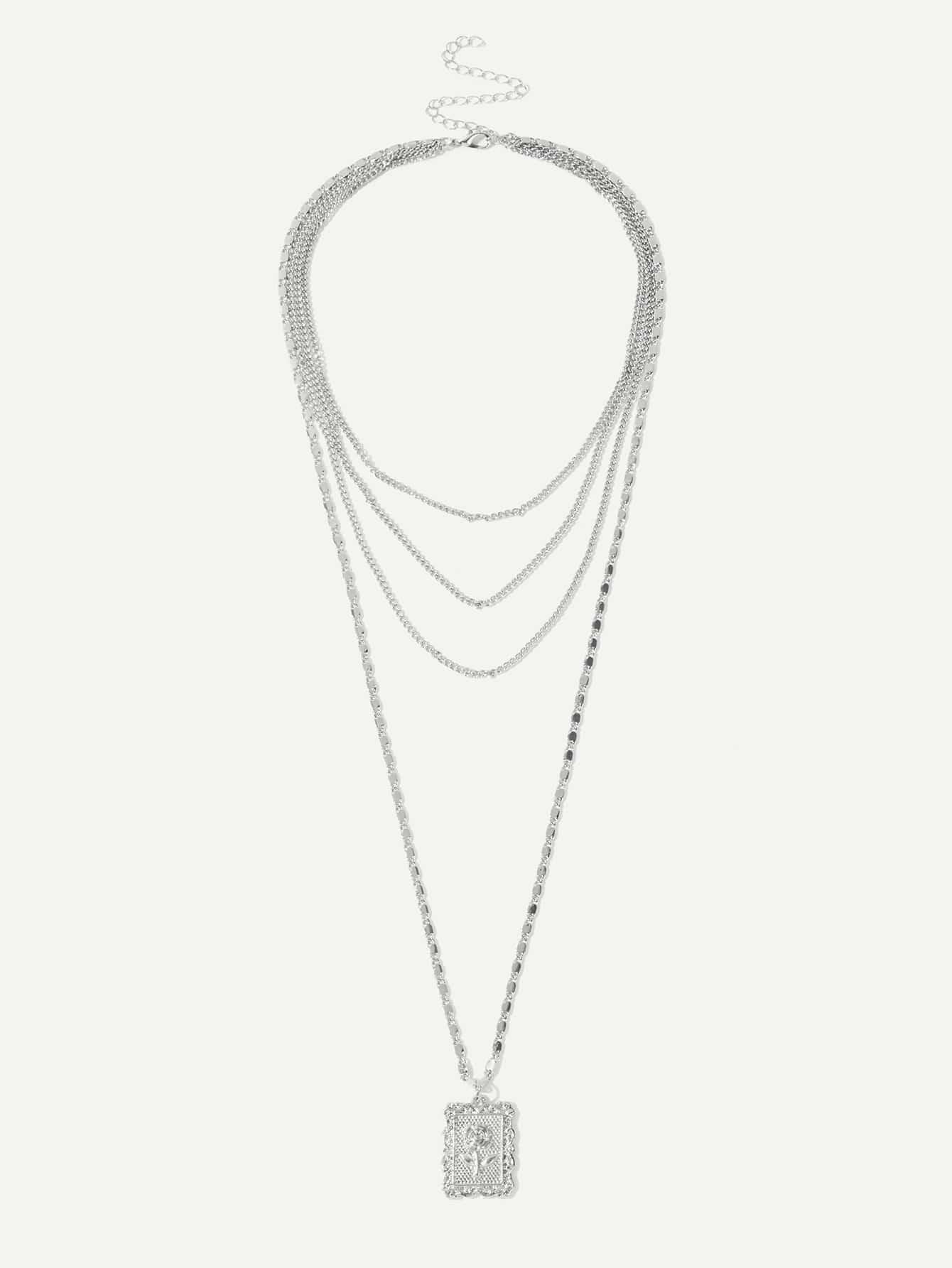 Купить Цветочная деталь Квадратное многослойное ожерелье, null, SheIn