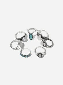 Gemstone Decorated Rings Set 7pcs