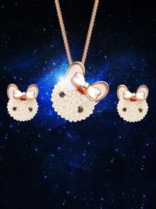 Faux Pearl Rabbit Necklace 1pc & Earrings 1pair