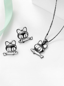 Cat And Fish Necklace 1pc & Earrings 1pair