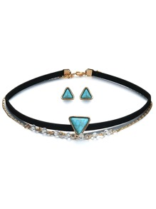 Triangle Design Layered Choker 1pc & Earrings 1pair