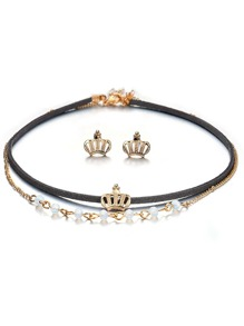 Crown Decorated Layered Choker 1pc & Earrings 1pair