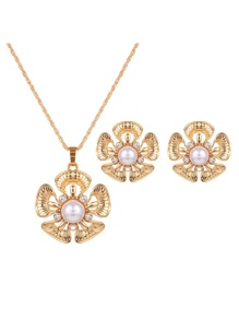 Flower Pendant Necklace 1pc & Earrings 1pair