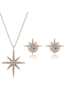 Rhinestone Star Pendant Necklace 1pc & Earrings 1pair
