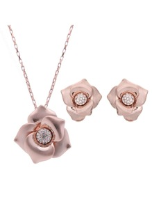 Flower Shaped Pendant Necklace 1pc & Earrings 1pair