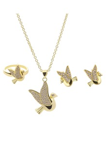 Bird Pendant Necklace 1pc & Earrings 1pair & Ring 1pc