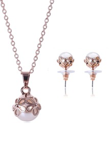 Hollow Flower Detail Necklace 1pc & Earrings 1pair