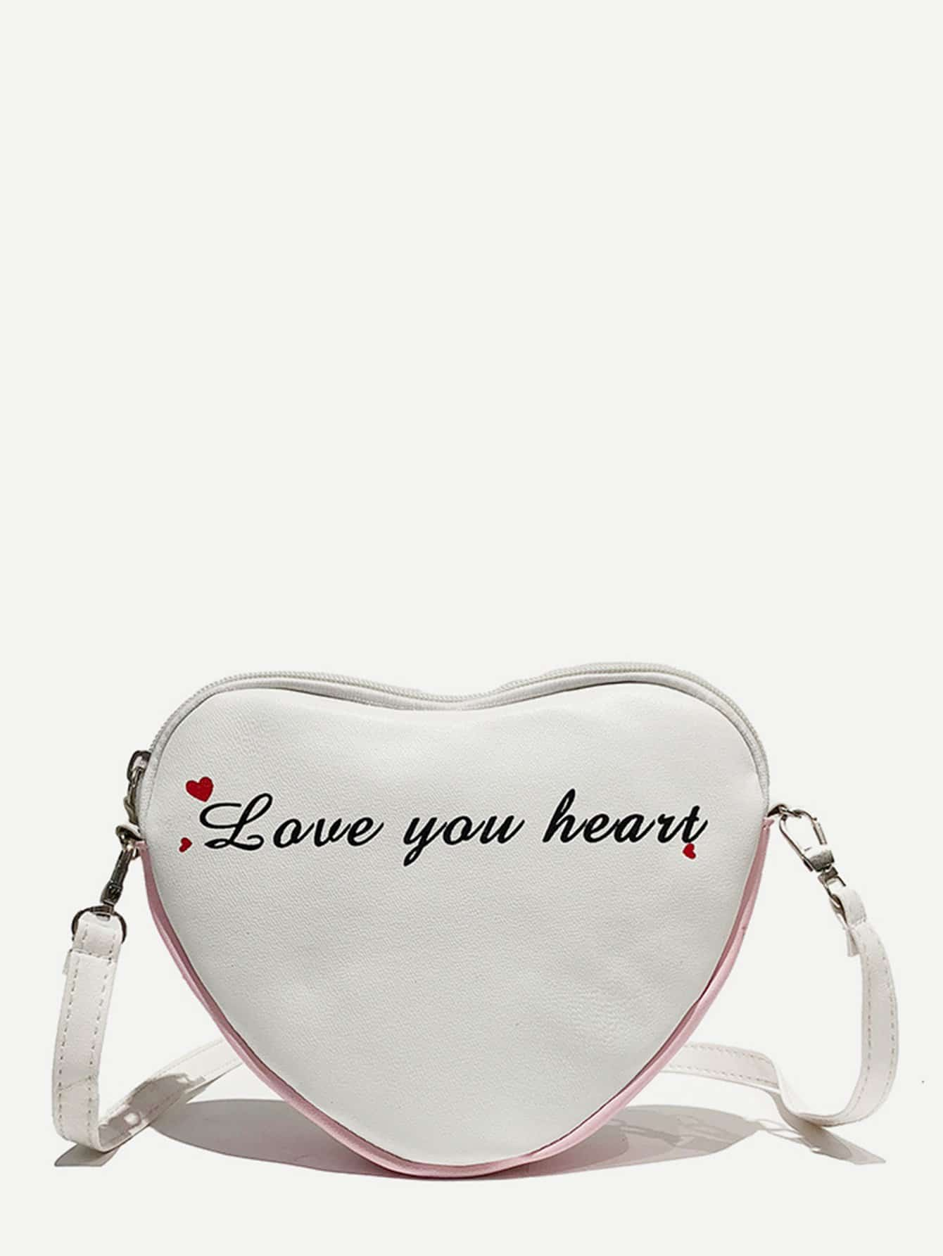 Letter Print Heart Shaped Crossbody Bag letter print pu crossbody bag