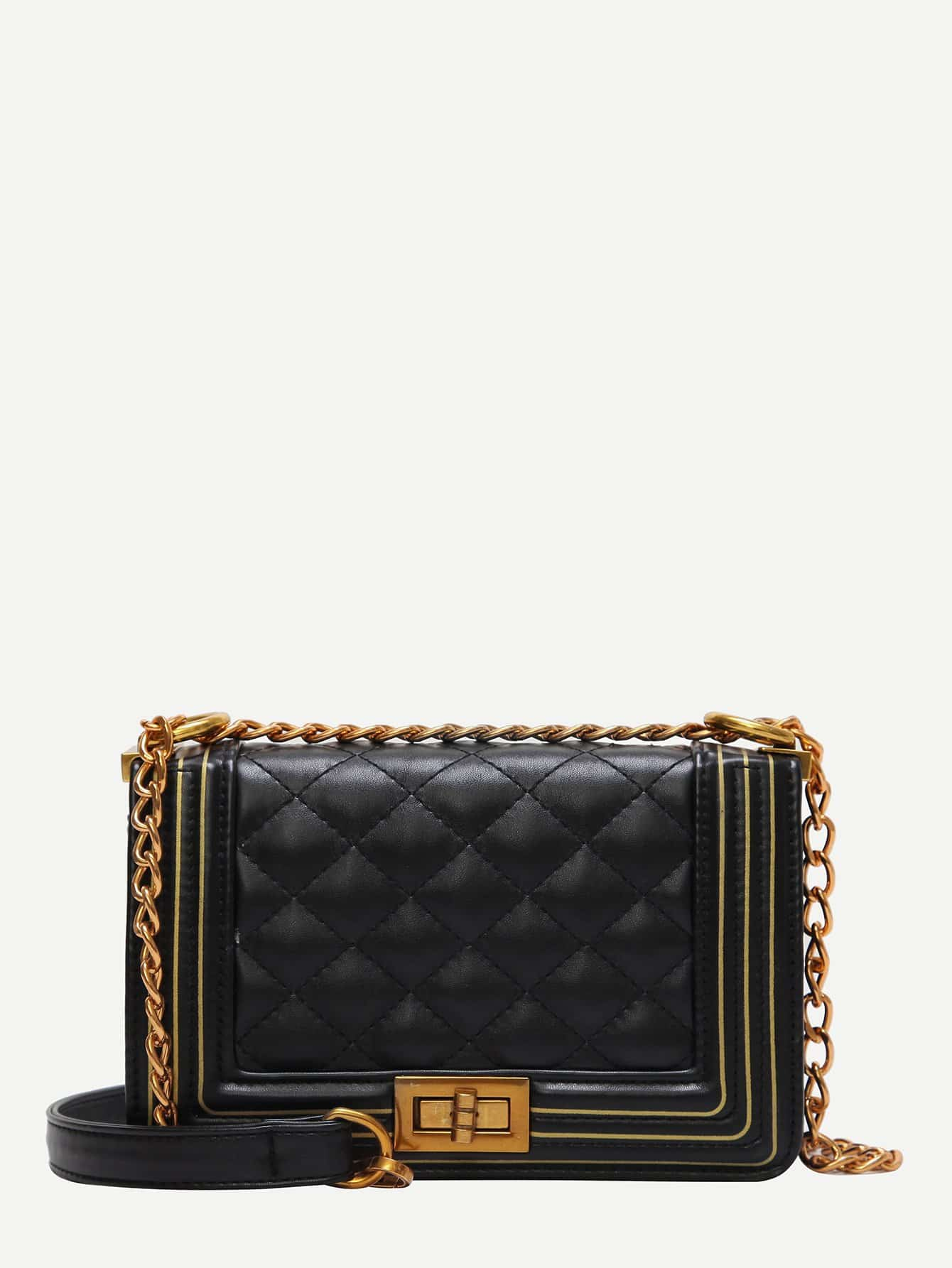 Twist Lock Decor Quilted Chain Bag metal lock quilted chain bag