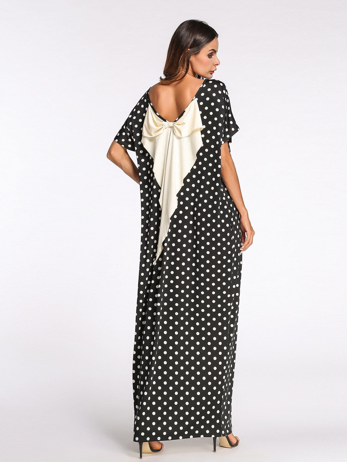 Bow Back Dot Print Longline Dress bow detail longline dress