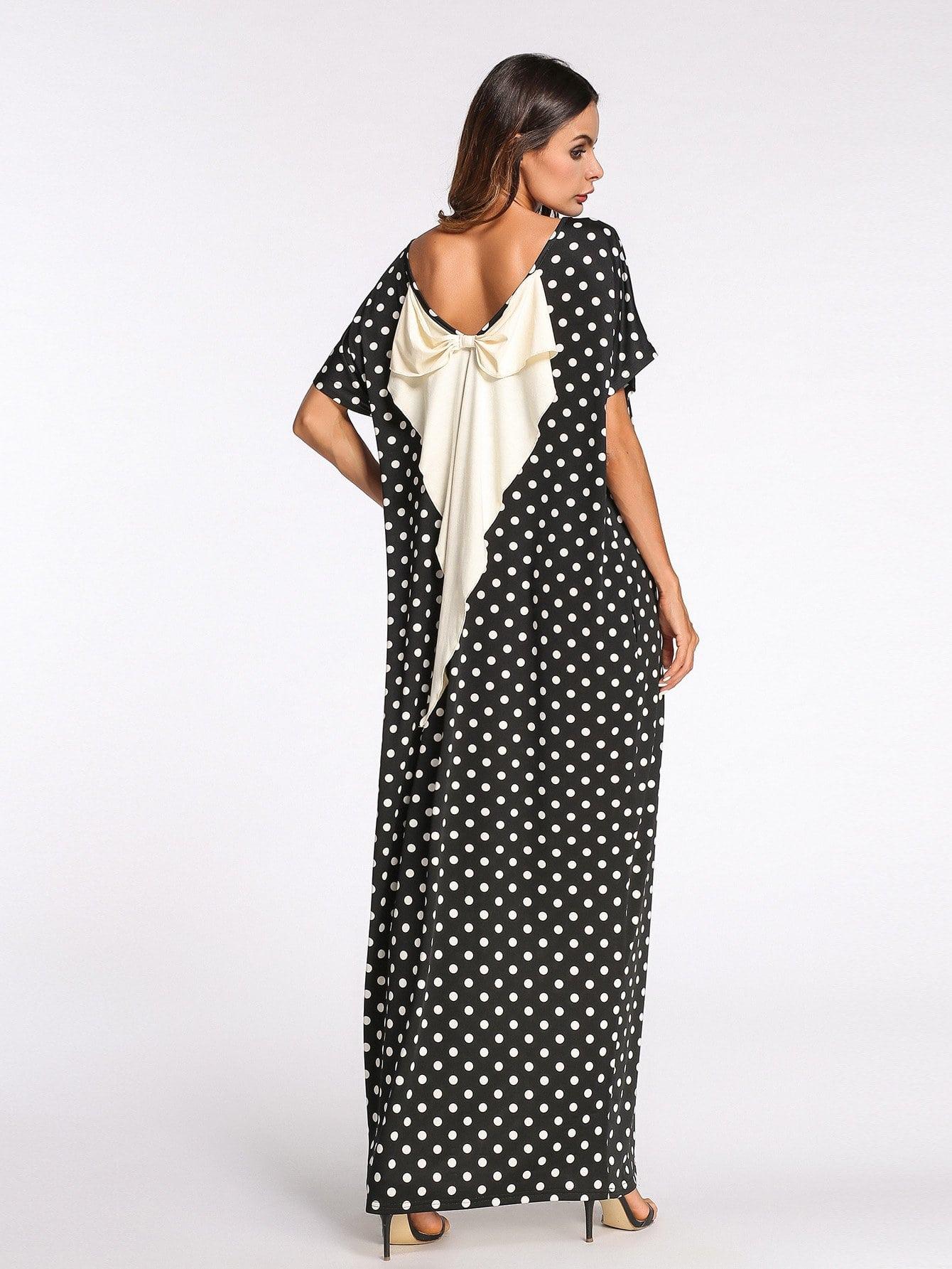 Bow Back Dot Print Longline Dress landscape print longline dress