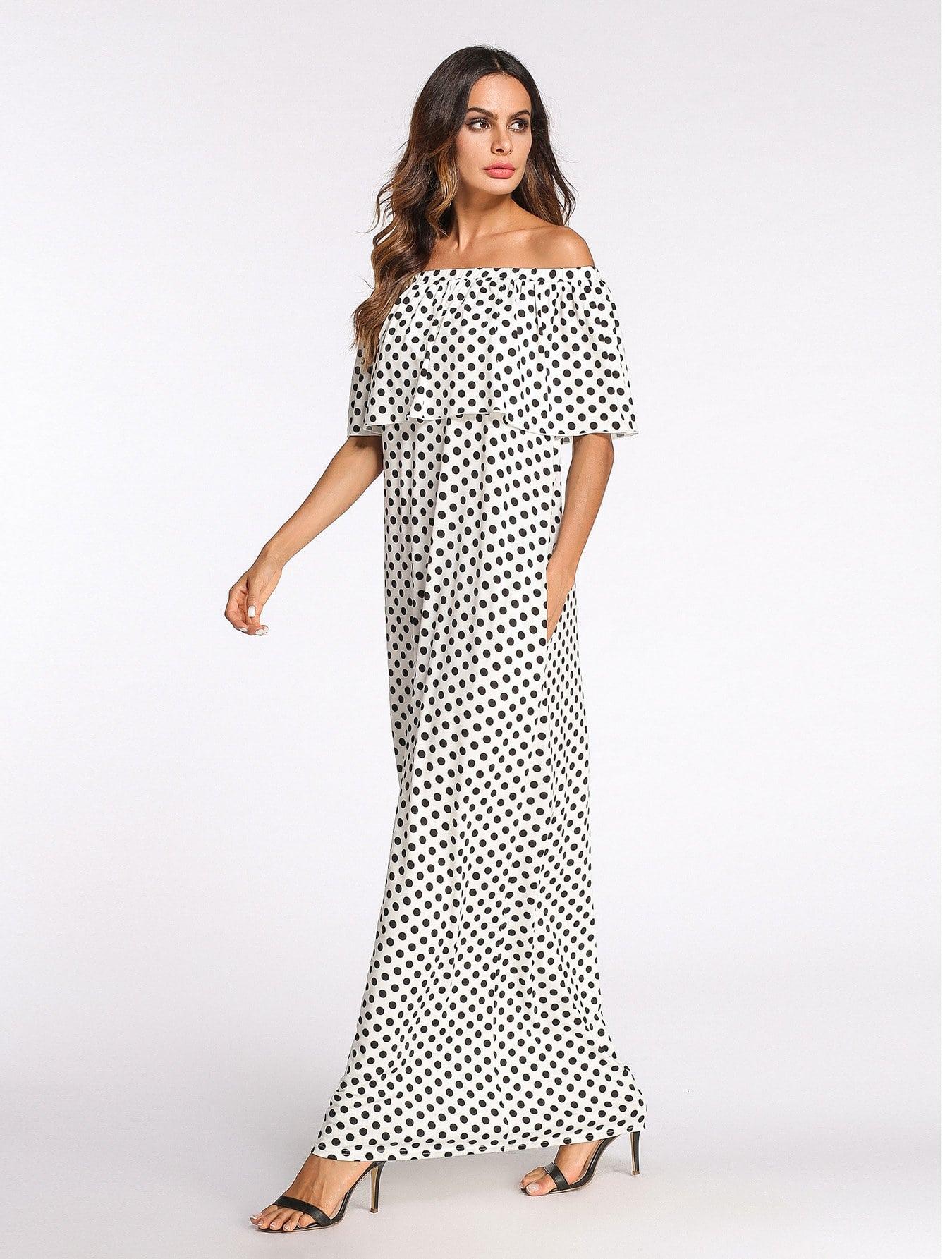 Off-Shoulder Dot Print Longline Dress tribal print longline dress