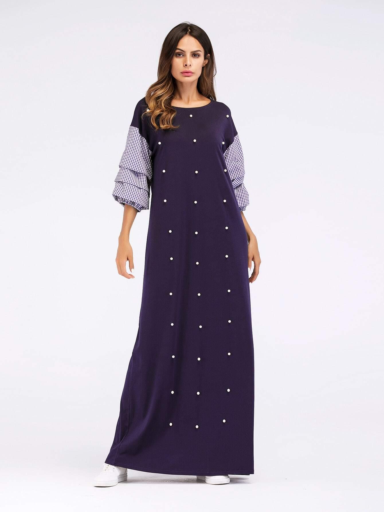 цена на Tiered Ruffle-Sleeve Pearl Beaded Dress