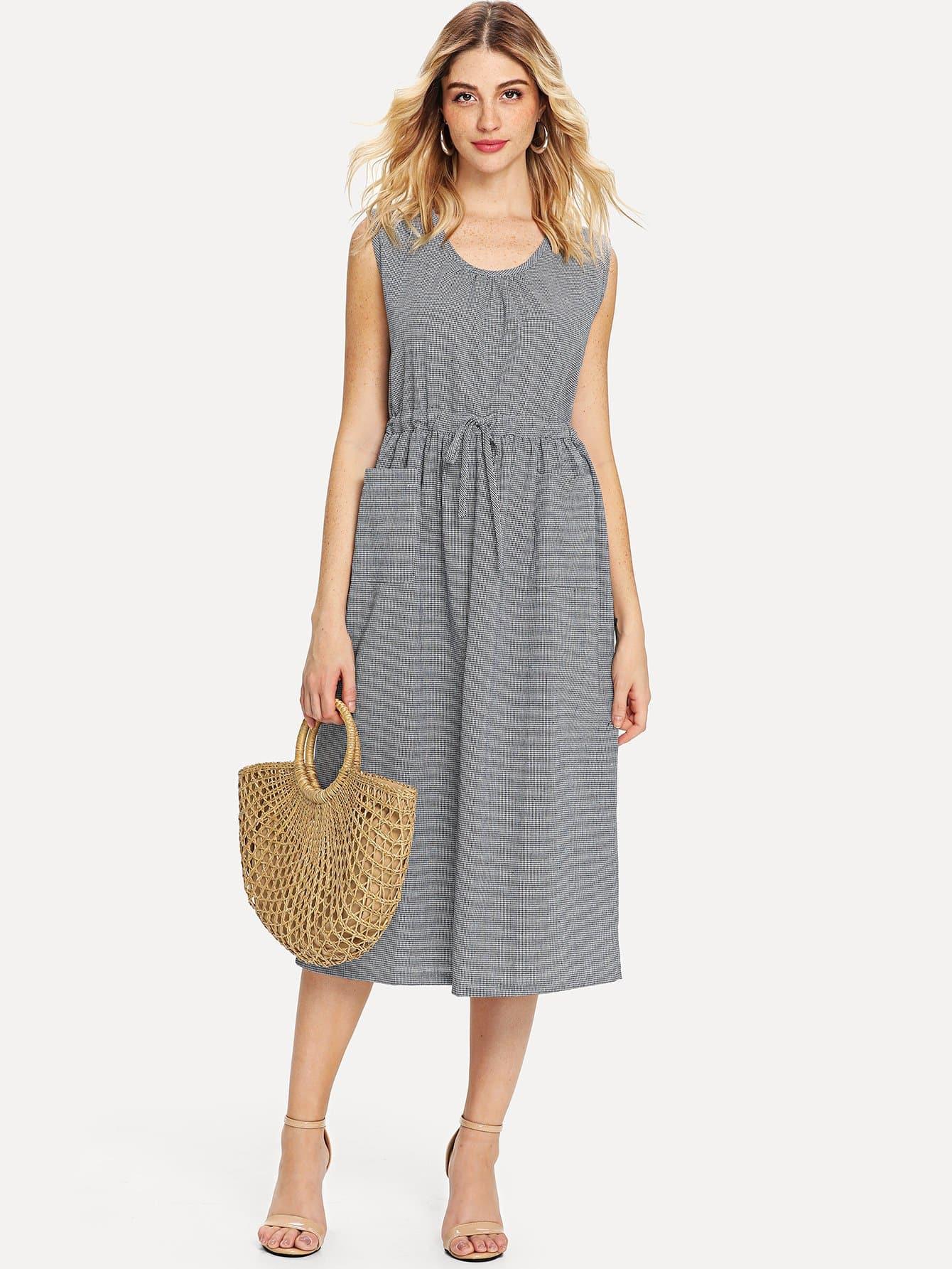 Купить Танковое платье с шнуровкой вокруг талии и полос, Nathane, SheIn