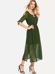 Split Sleeve Tie Detail Chiffon Dress