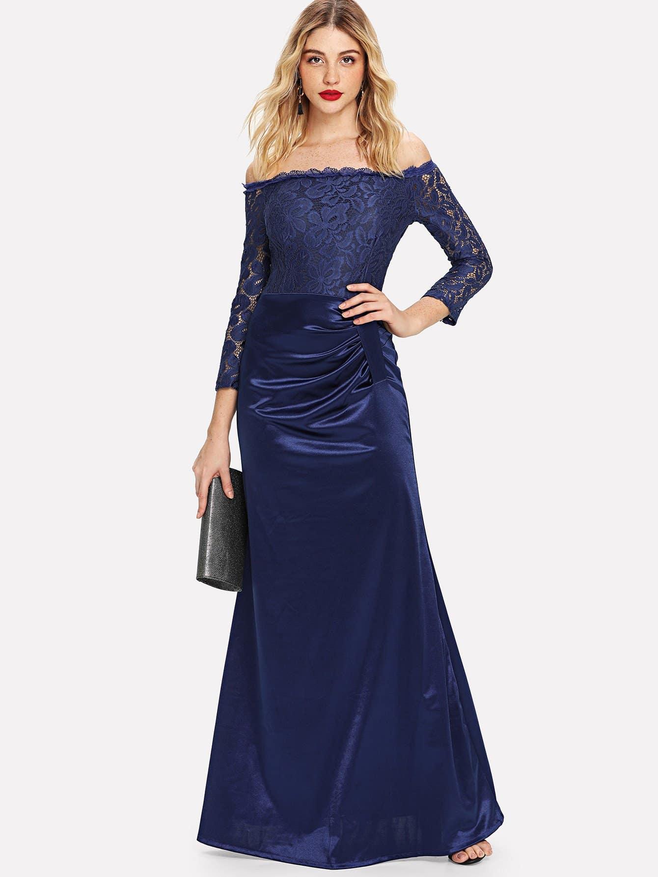 Off-Shoulder Lace Contrast Dress lace off shoulder dress