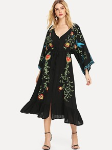 Floral Embroidered Ruffle Dress