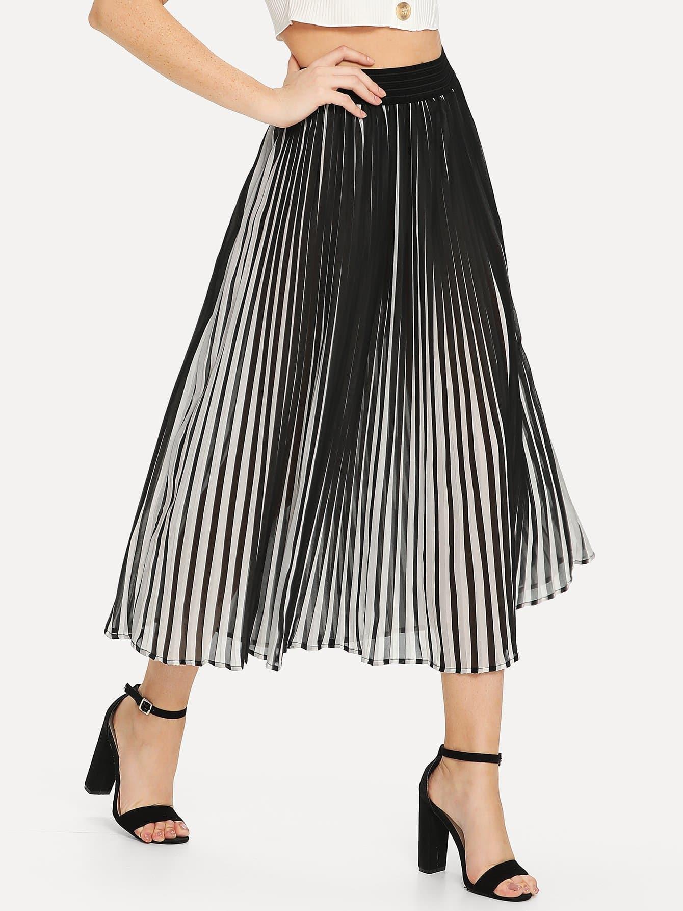 Pleated Stripe Chiffon Skirt